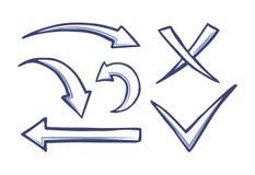 Pilar och pekareCheckmark och arg vektor vektor illustrationer
