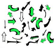 Pilar räcker utdragna klotter planlägger på vit bakgrund vektor illustrationer