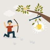 Pilar som slår det guld- äpplet stock illustrationer