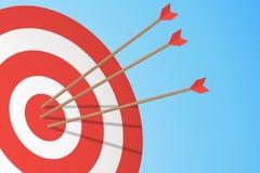 Pilar som slår ett mål Ett mål och tre pilar Begrepp för affärsmål också vektor för coreldrawillustration stock illustrationer