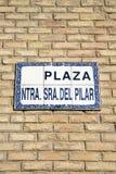 Pilar Square Sign Saragossa Royaltyfria Foton