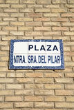 Pilar Square Sign, Saragossa Royalty Free Stock Photos