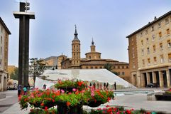 Pilar square of Zaragoza Stock Photography