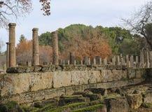 Pilares antiguos todavía que se colocan en Olympus antiguo Grecia donde los primeros Juegos Olímpicos fueron llevados a cabo con  imágenes de archivo libres de regalías
