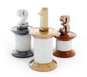 Pilares con un, dos y tres números ilustración 3D Foto de archivo