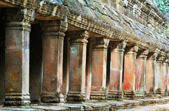Pilares de la galería en TA Prohm, Siem Reap, Camboya Foto de archivo