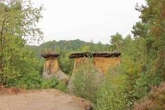 Pilares de la piedra arenisca, Poklicky, República Checa fotos de archivo