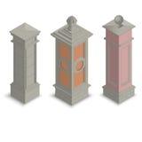 Pilares de la puerta isométricos Fotografía de archivo