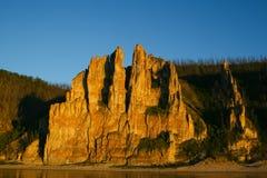 Pilares de Lena, naturaleza de Siberia del este foto de archivo