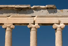 Pilares en la acrópolis Foto de archivo libre de regalías