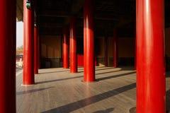 Pilares rojos de la ciudad prohibida Imagenes de archivo