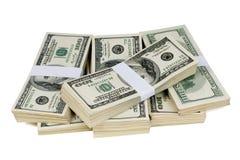 Pilas aisladas de dinero Imagen de archivo libre de regalías
