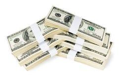 Pilas aisladas de dinero Fotos de archivo libres de regalías
