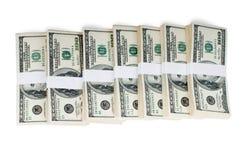 Pilas aisladas de dinero Fotografía de archivo libre de regalías