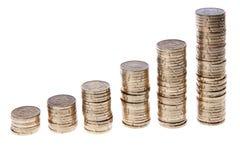 Pilas cada vez mayores de europeo 20 monedas del centavo Fotografía de archivo libre de regalías
