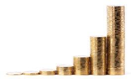 Pilas cada vez mayores de monedas de oro Imagen de archivo