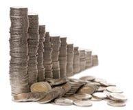 Pilas de 2 monedas de los euros Fotografía de archivo libre de regalías