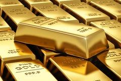 Pilas de barras de oro Imagen de archivo libre de regalías