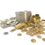 Pilas de barras y de dinero de oro Imágenes de archivo libres de regalías