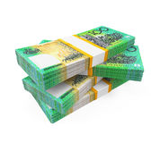 Pilas de 100 billetes de banco del dólar australiano Imagen de archivo libre de regalías