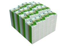 Pilas de 100 billetes de banco euro Imagen de archivo libre de regalías