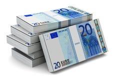 Pilas de 20 billetes de banco euro Imágenes de archivo libres de regalías