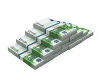 Pilas de 100 billetes de banco euro Foto de archivo libre de regalías