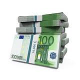 Pilas de 100 billetes de banco euro Imágenes de archivo libres de regalías