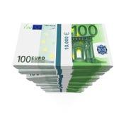 Pilas de 100 billetes de banco euro Fotografía de archivo libre de regalías