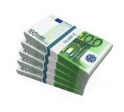 Pilas de 100 billetes de banco euro Imagen de archivo