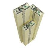 Pilas de 100 billetes de dólar Fotografía de archivo libre de regalías
