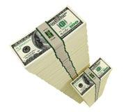 Pilas de 100 billetes de dólar Fotografía de archivo