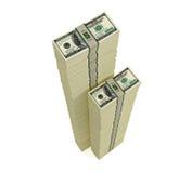 Pilas de 100 billetes de dólar Imagen de archivo libre de regalías