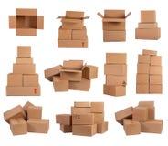 Pilas de cajas de cartón Fotos de archivo