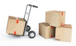 Pilas de cajas de cartón Imagenes de archivo