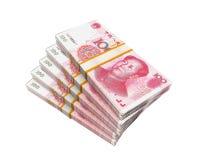 Pilas de chino Yuan Banknotes foto de archivo libre de regalías