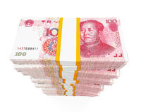 Pilas de chino Yuan Banknotes fotos de archivo
