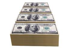 Pilas de cientos cuentas de dólar Imagen de archivo libre de regalías