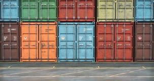 Pilas de contenedores para mercancías, moviéndose a lo largo de la línea de envases, lazo inconsútil metrajes
