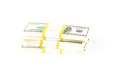 Pilas de 100 dólares Imagen de archivo libre de regalías