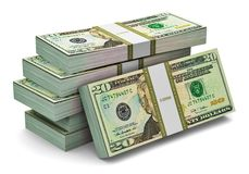 Pilas de 20 dólares de billetes de banco Imagen de archivo
