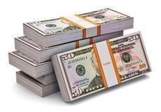 Pilas de 50 dólares de billetes de banco Fotografía de archivo