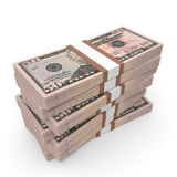 Pilas de dinero Cincuenta dólares ilustración del vector