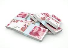 Pilas de dinero de China aisladas en el fondo blanco Imagen de archivo libre de regalías