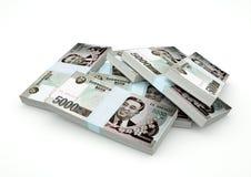 Pilas de dinero de Corea del Norte aislado en el fondo blanco Imagenes de archivo