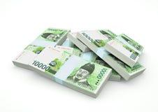 Pilas de dinero de la Corea del Sur aisladas en el fondo blanco Imagenes de archivo