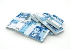 Pilas de dinero de Marruecos aisladas en el fondo blanco Imagen de archivo