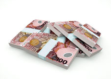 Pilas de dinero de Nueva Zelanda aisladas en el fondo blanco Imagen de archivo