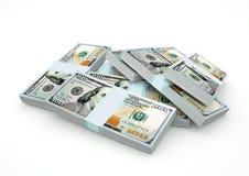 Pilas de dinero del dólar aisladas en el fondo blanco Fotos de archivo