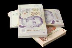 Pilas de dinero en circulación de Singapur fotos de archivo libres de regalías